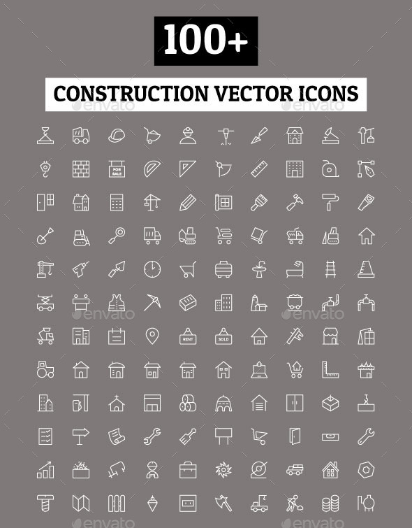 GraphicRiver 100& Construction Vector Icons 11230271