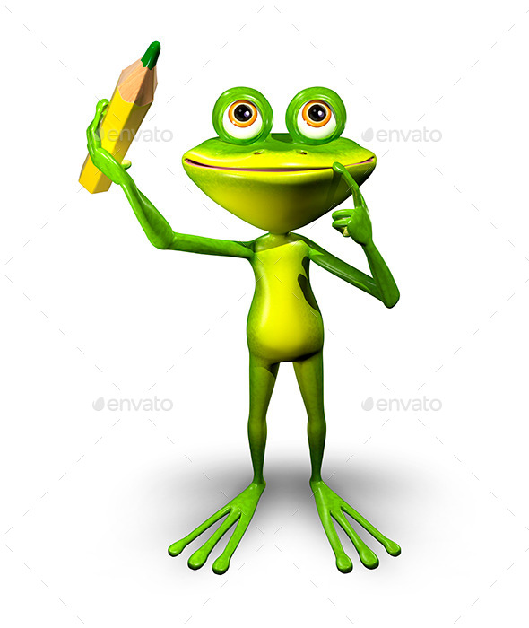 GraphicRiver Frog with Pencil 11231558