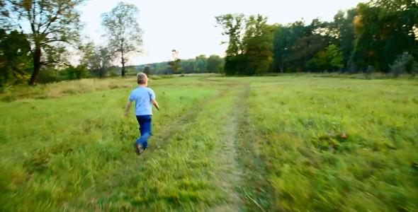 Playful Child Running Outdoors