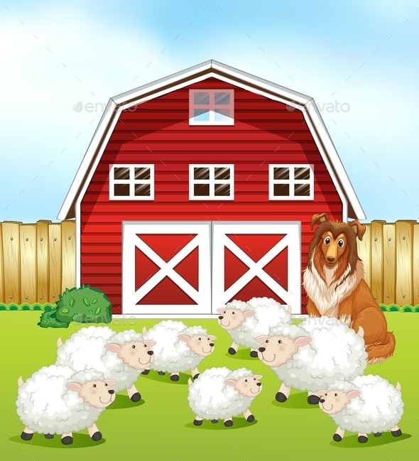 GraphicRiver Sheep and Barn 11237127