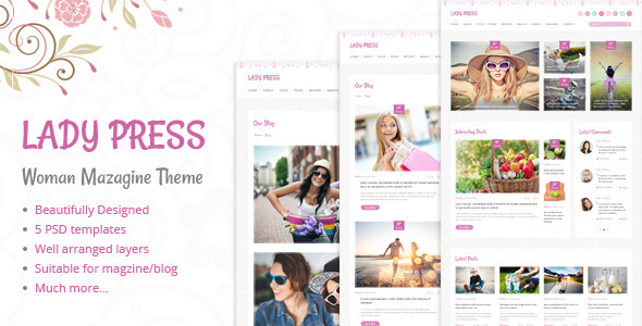 LadyPress - Woman Magazine Blog PSD Template