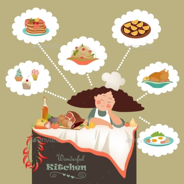 GraphicRiver Woman Thinking What to Cook 11237541