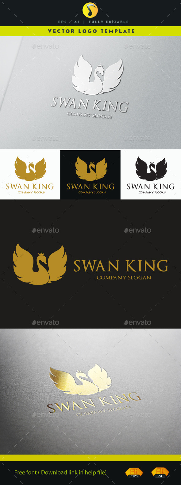 GraphicRiver Swan King Logo 11237629