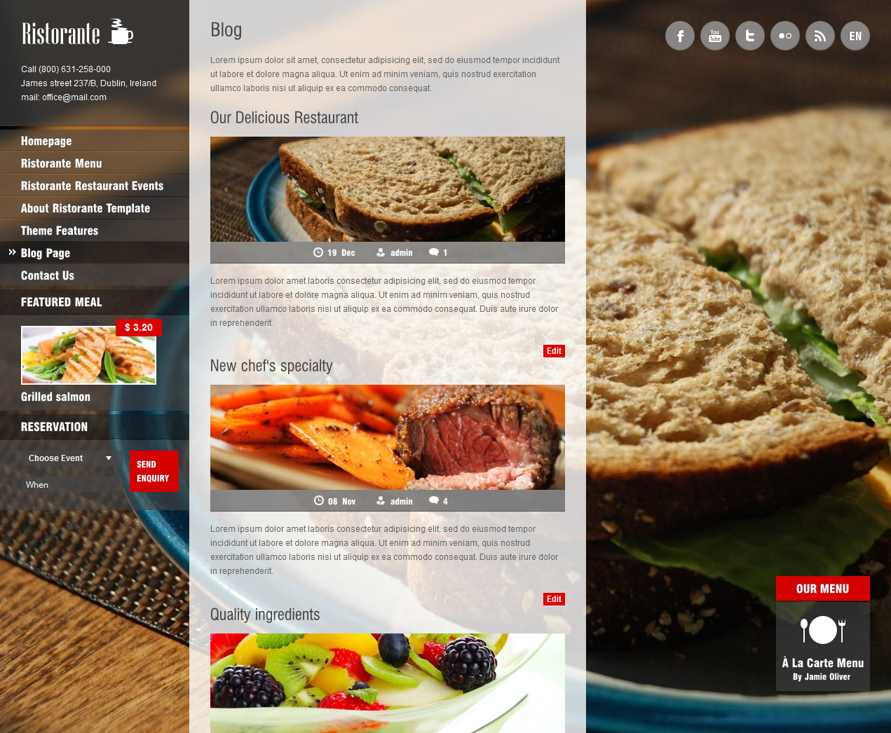 Ristorante Fullscreen Restaurant Wordpress Theme