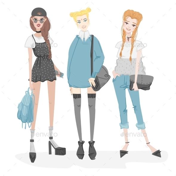 GraphicRiver Fashionable Girls Set 11238054