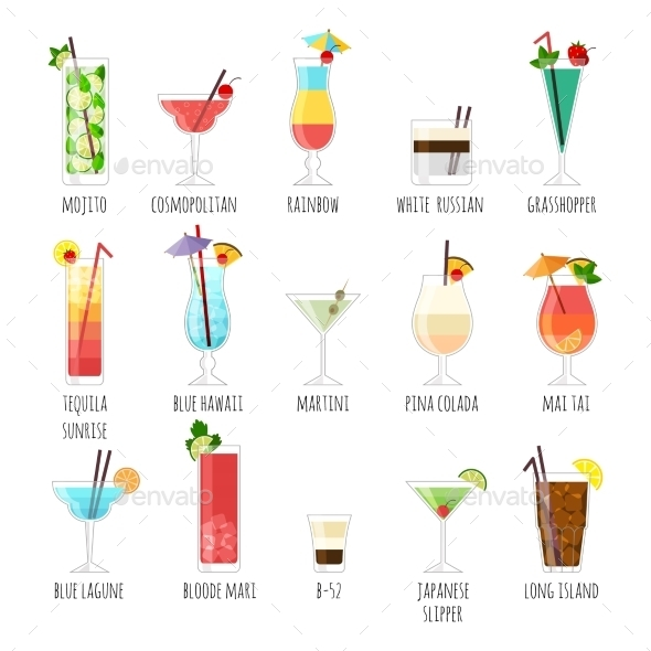 GraphicRiver Set Of Illustrations Club Cocktails 11238086