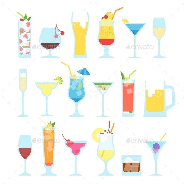 GraphicRiver Set Of Different Alcoholic Cocktails 11238091