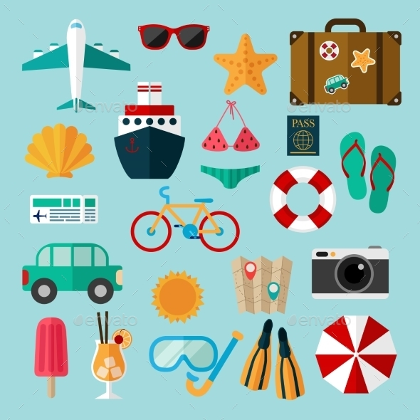 GraphicRiver Flat Icons Set Of Recreation And Travel 11238139