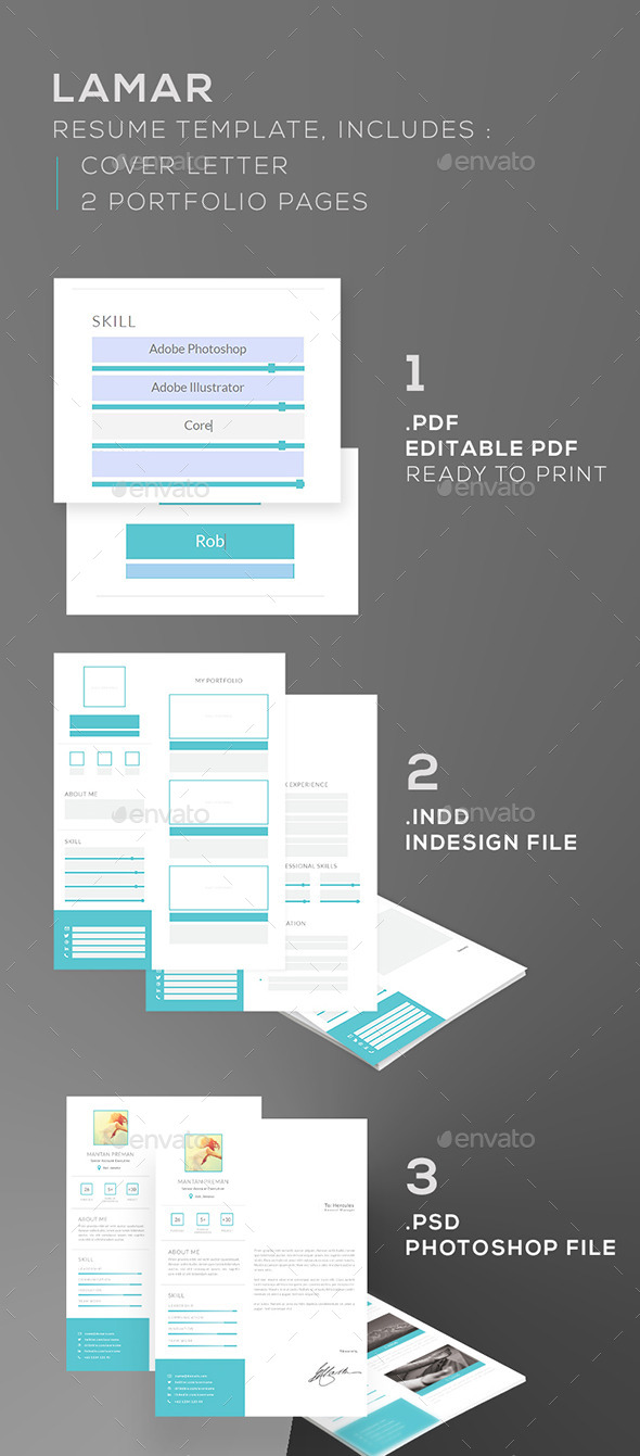 GraphicRiver Editable Lamar Resume 11238640