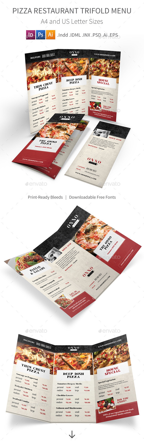GraphicRiver Pizza Restaurant Trifold Menu 11238750