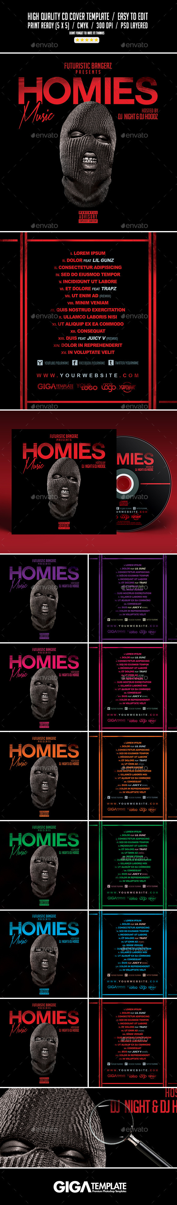 GraphicRiver Homies Music Mixtape Tape Album CD Cover Template 11053794