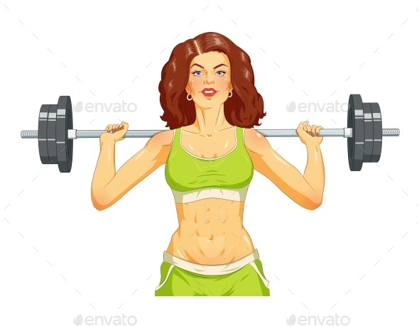 GraphicRiver Girl Doing Fitness Exercise with Barbell 11238799