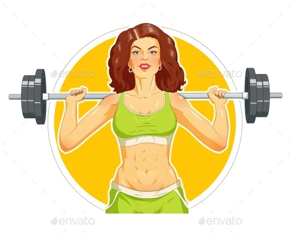 GraphicRiver Girl Doing Fitness Exercise with Barbell 11238918