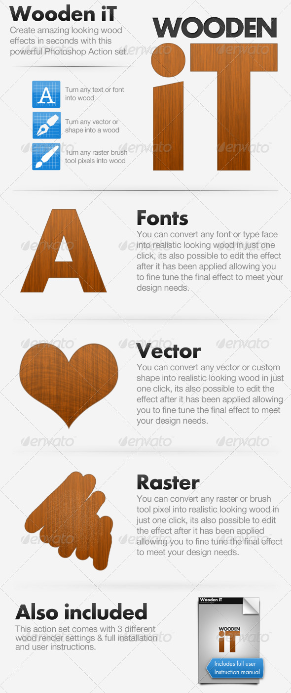 Wooden iT - Convert To Wood Action - Text Effects Actions