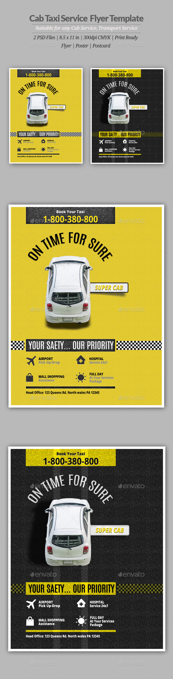 GraphicRiver Cab Taxi Service Flyer or Poster 11239091