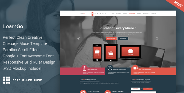 ThemeForest LearnGo OnePage Education Muse Template 11175211