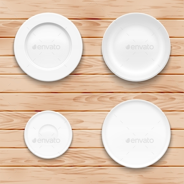 GraphicRiver White Plate Set On Wooden Background 11239426