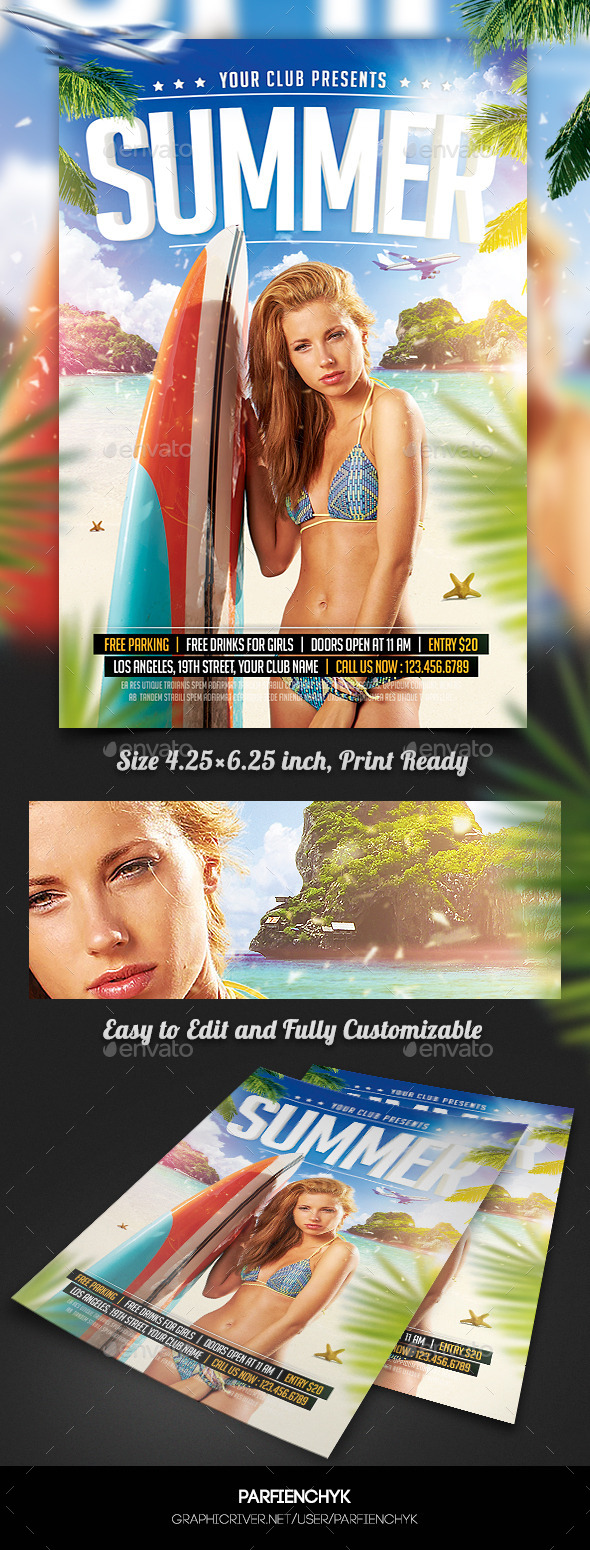GraphicRiver Summer Beach Party Flyer Template 11239572