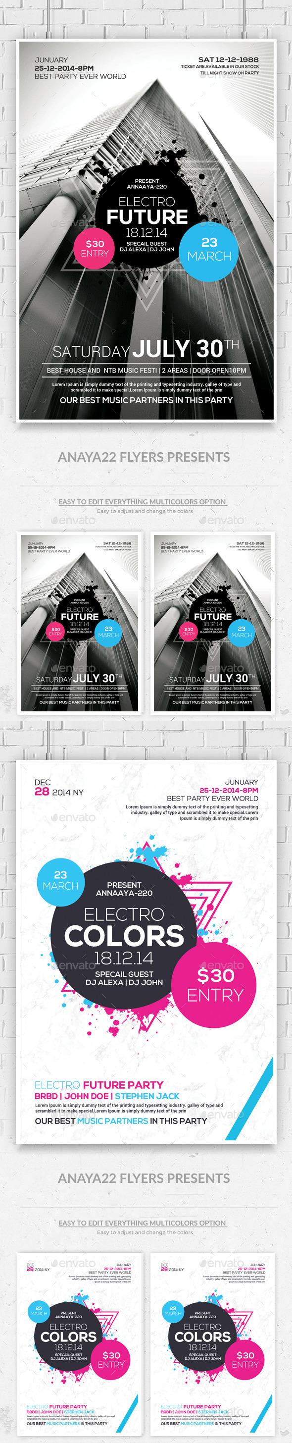 GraphicRiver Minimal Futuristic Flyer Poster Psd Bundle 11239623