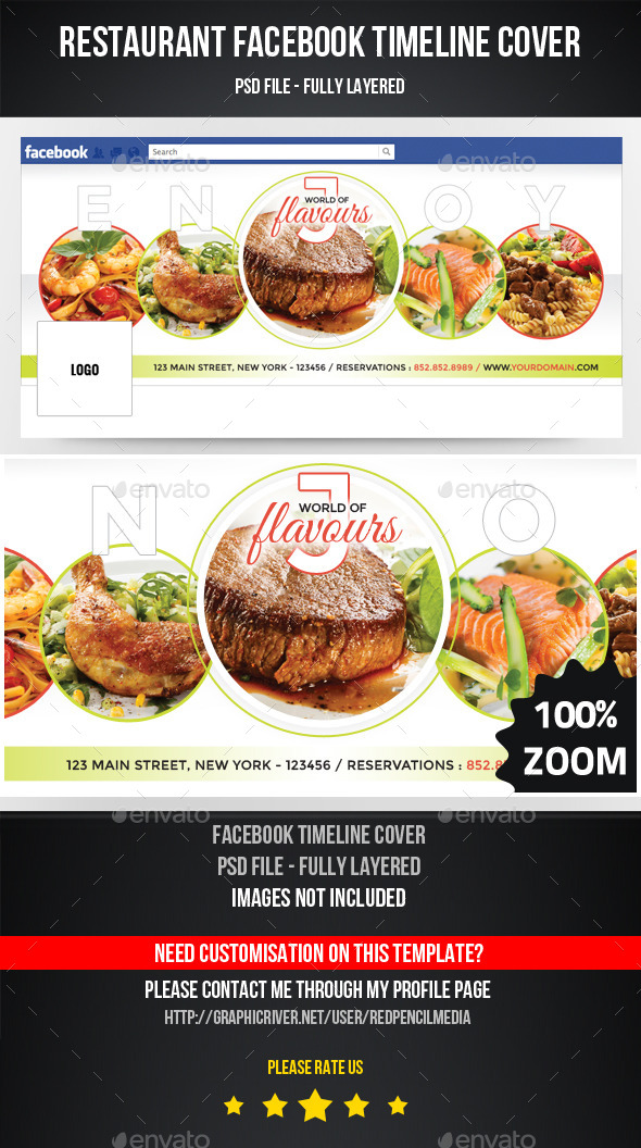 GraphicRiver Restaurant Facebook Timeline Cover 11239640