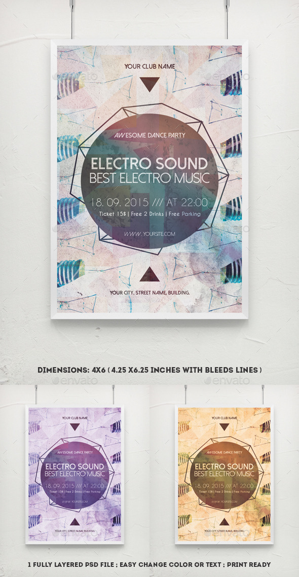 GraphicRiver Electro Sound House Music Flyer 11239959