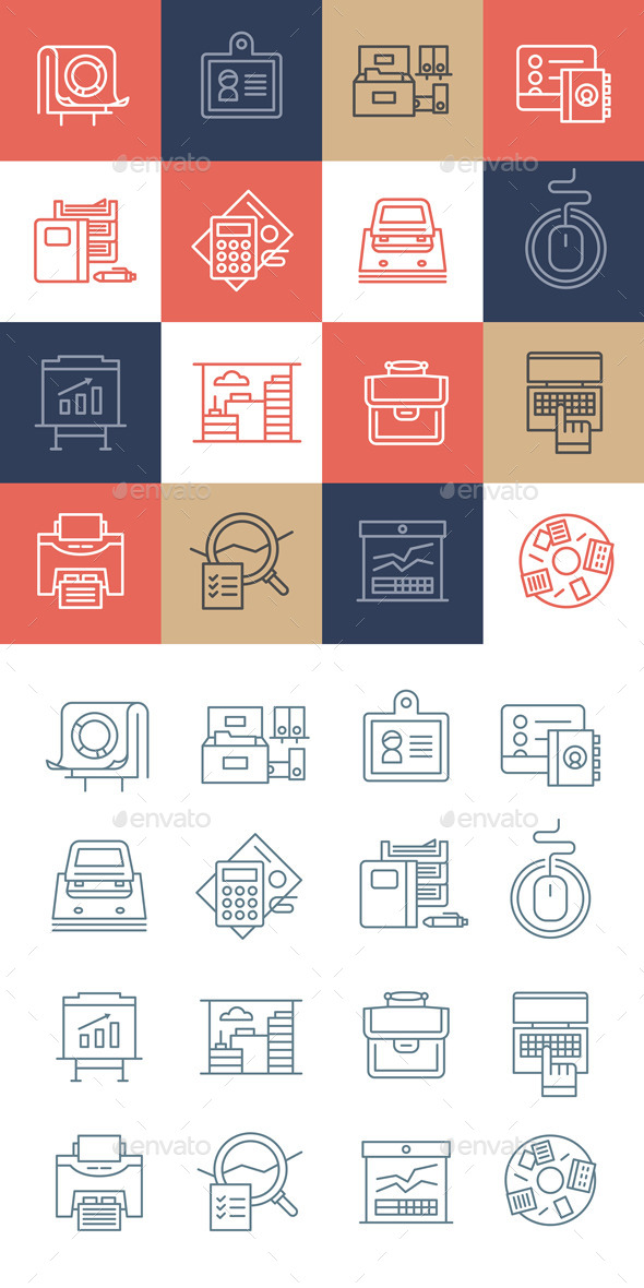 GraphicRiver Office Life Icons Collection 11240039
