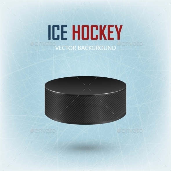GraphicRiver Black Hockey Puck On Ice Rink 11240049