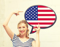 smiling woman with text bubble of american flag - PhotoDune Item for Sale