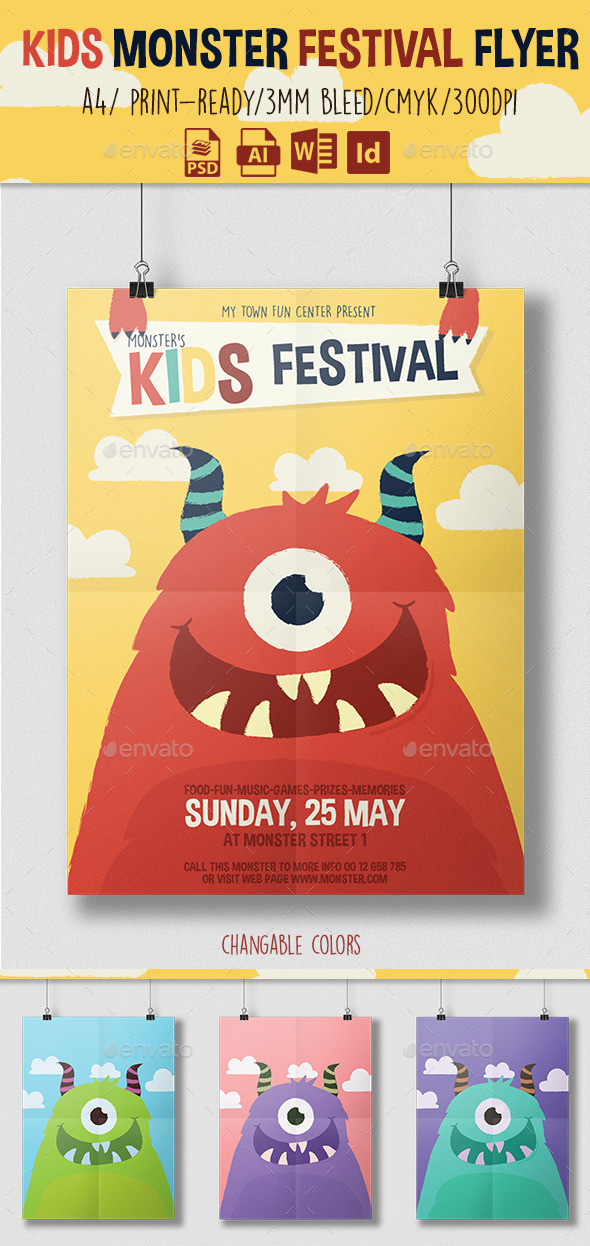 GraphicRiver Kids Monster Festival Flyer 11240150