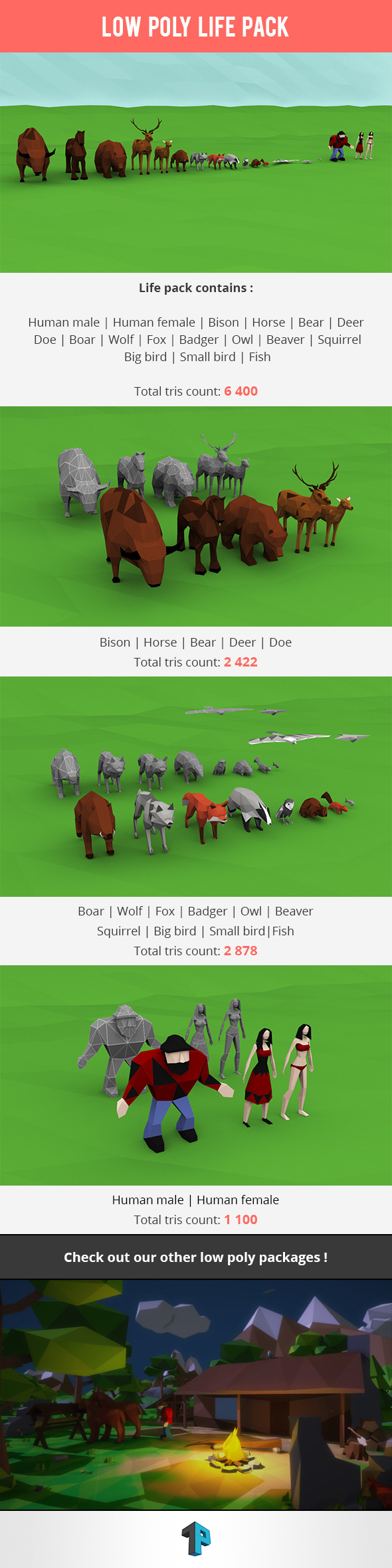 3DOcean Low Poly Life Package 11240653