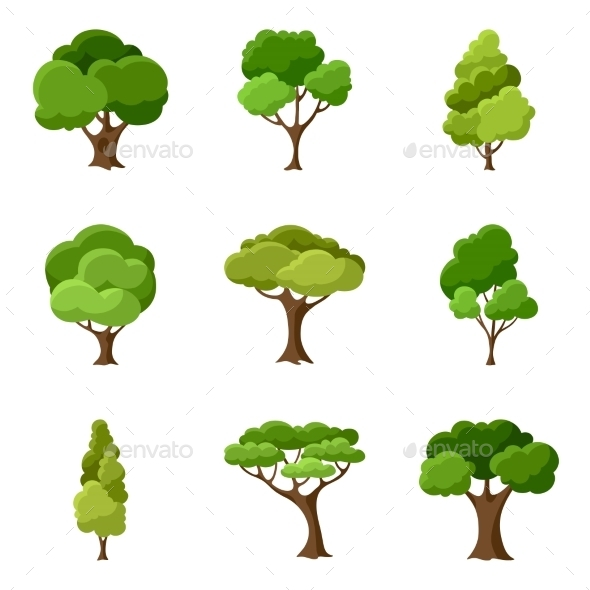 GraphicRiver Set of Abstract Stylized Trees 11240774