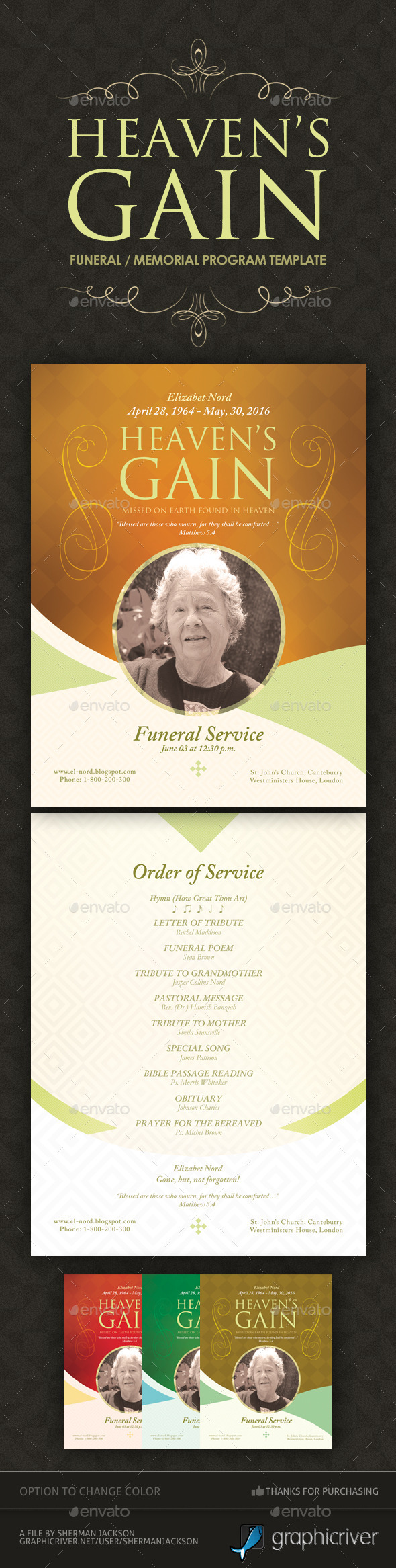 GraphicRiver Heaven s Gain Funeral Memorial Program 11241050
