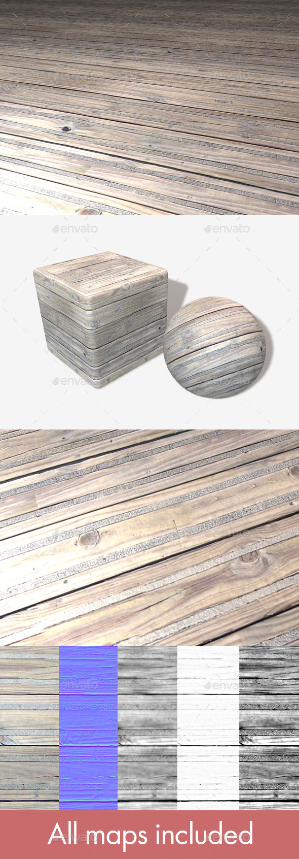 3DOcean Wooden Floor Grip Panels Seamless Texture 11241991