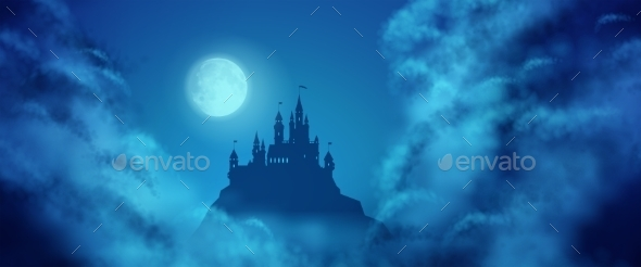 GraphicRiver Fantasy Castle Moonlight Sky 11242271