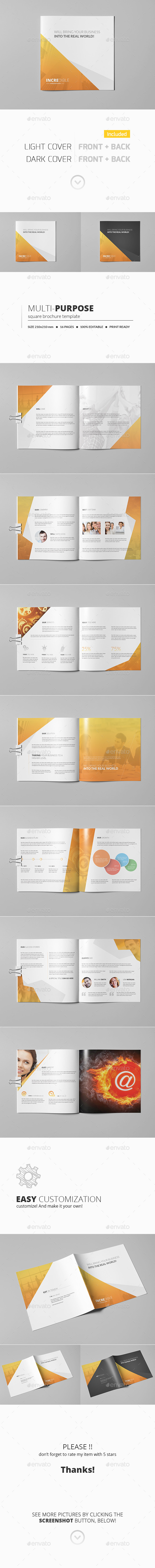 GraphicRiver Multipurpose Square Brochure Template 11242541