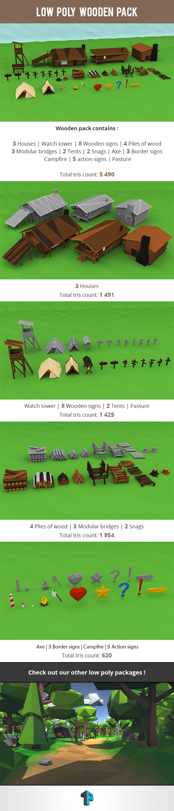 3DOcean Low Poly Wooden Package 11242573