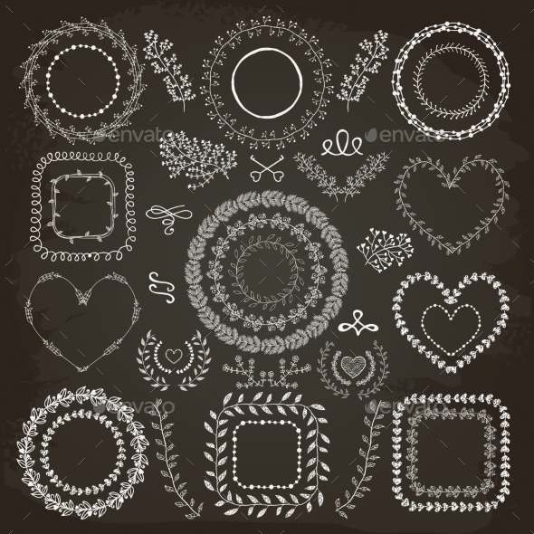 GraphicRiver Hand-Drawn Floral Frames 11242798