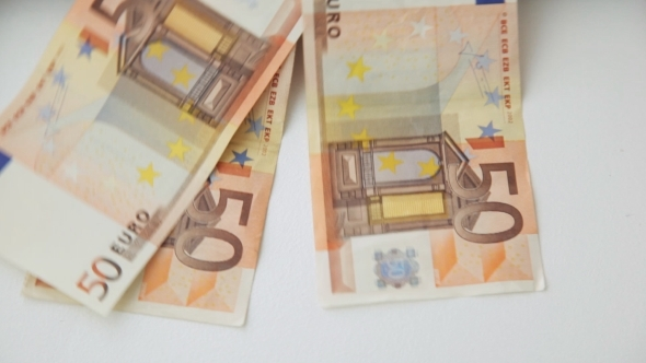 Falling 50 Euro Paper Money Bank Notes