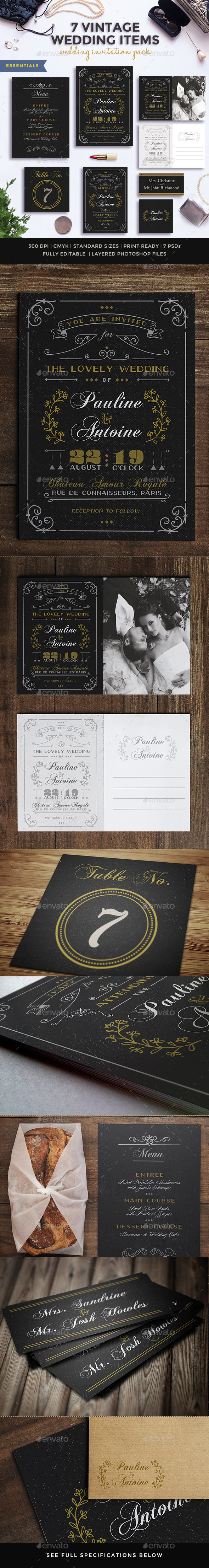 GraphicRiver 7 Vintage Items Wedding Pack V 11214193