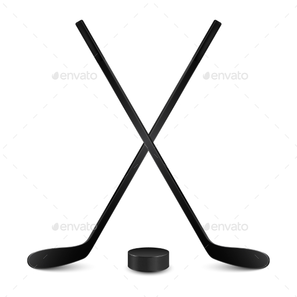 GraphicRiver Two Crossed Hockey Sticks and Puck 11243454