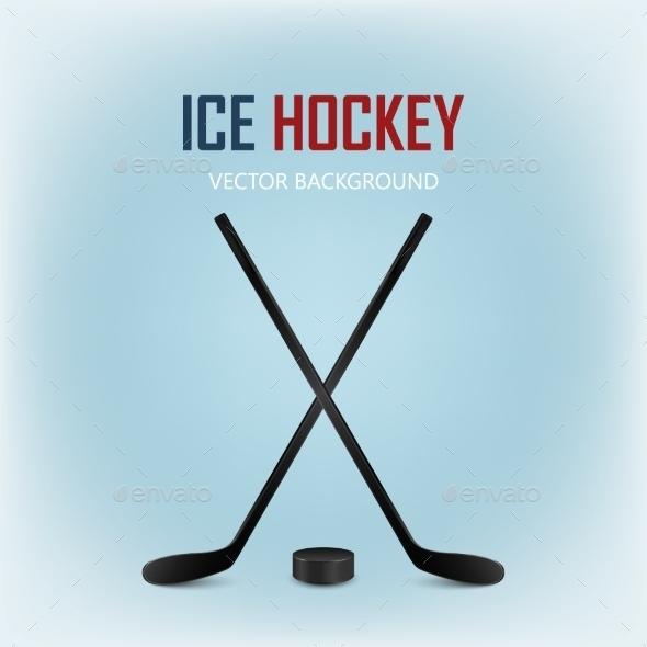 GraphicRiver Two Crossed Hockey Sticks and Puck 11243457