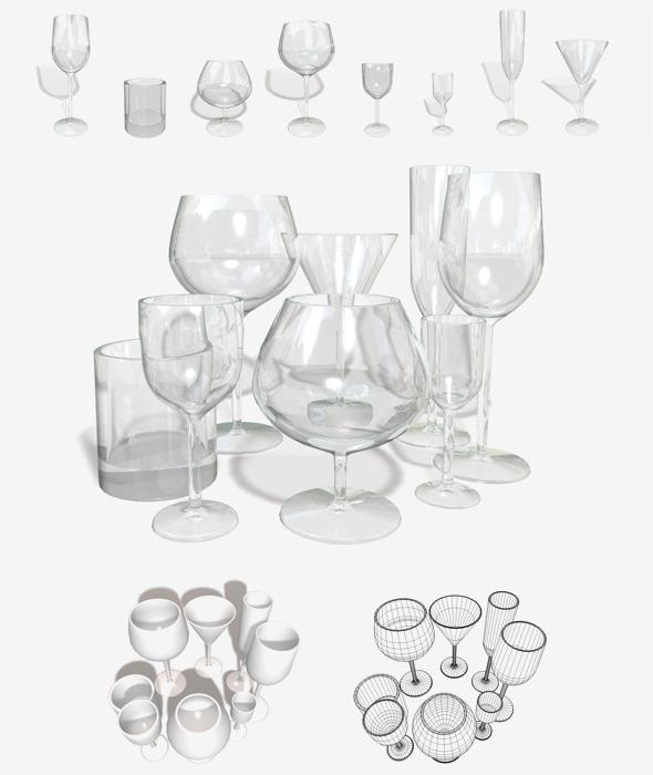 3DOcean Glassware 8 Types 11244055