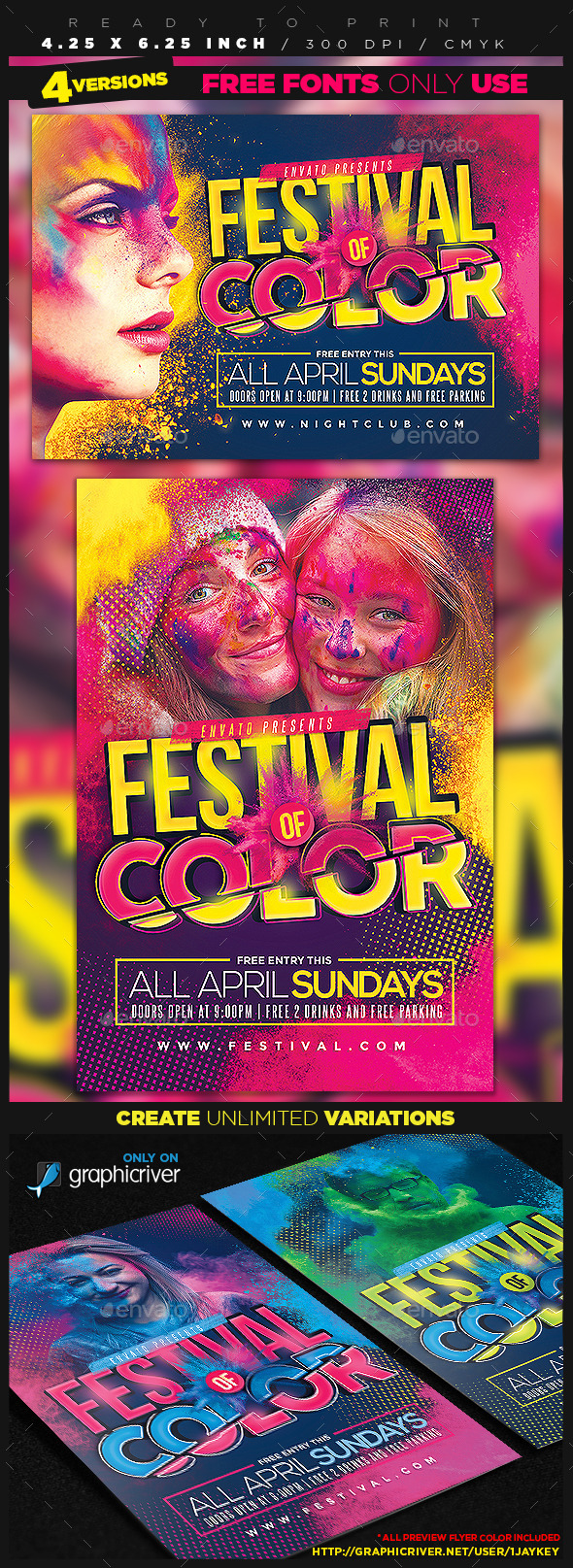 GraphicRiver Festival of Color Event Flyer 11244060