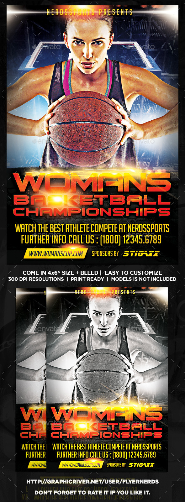 GraphicRiver Womans Basketball Championships Sports Flyer 11244065