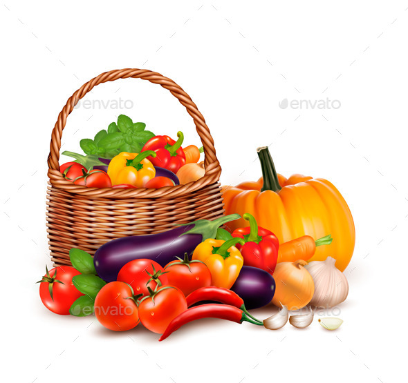 GraphicRiver Basket Full of Fresh Vegetables Background 11244100