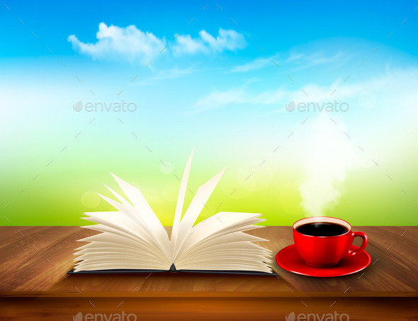 GraphicRiver Open Book and Red Cup on a Wooden Deck 11244131