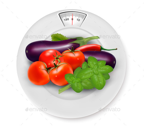 GraphicRiver Scale with Vegetables Diet Concept 11244139
