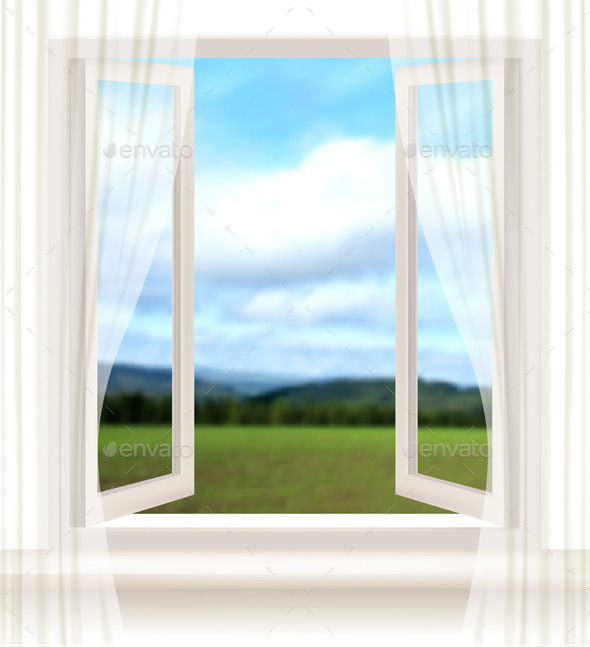 GraphicRiver Background with an Open Window and a Landscape 11244154