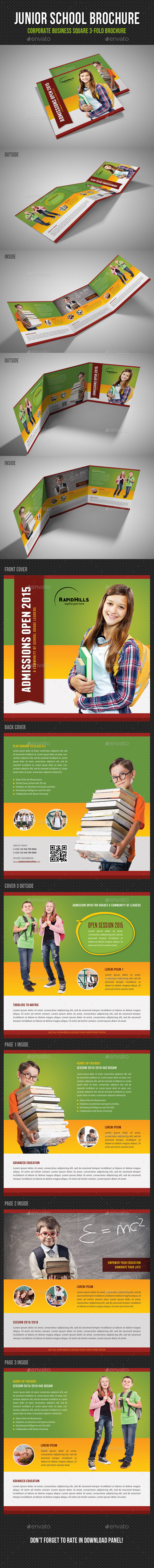 GraphicRiver Junior School Square 3-Fold Brochure V01 11244396