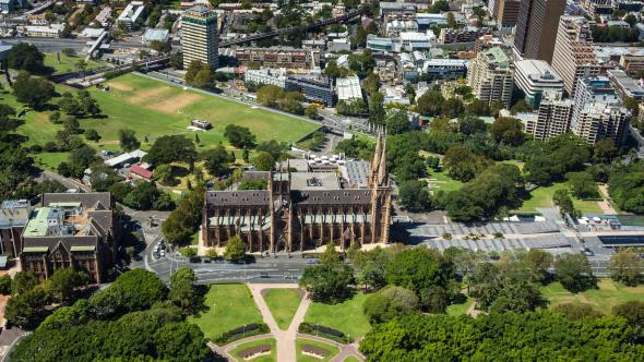 Hyde Park and St Mary's Cathedral Sydney